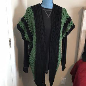 Handmade crochet kimono olive green/black